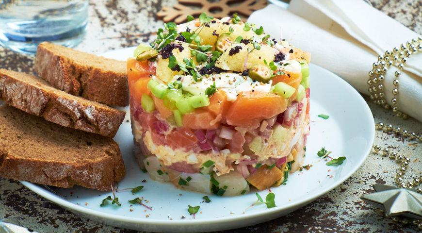 Рыбные салаты слоеные рецепты с простые и вкусные рецепты